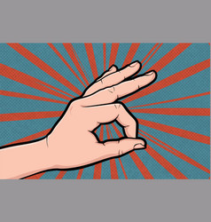 hand gesture comic book pop art isolated vector image