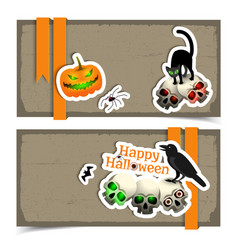 happy halloween paper horizontal banners vector image
