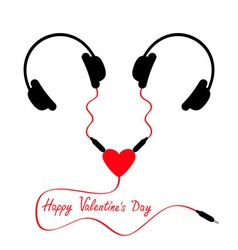 Happy Valentines Day Two headphones Earphones vector