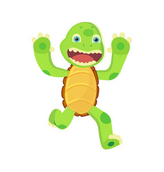 happy young cartoon turtle runs and tries to scare vector image