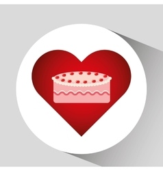 Heart cartoon sweet cake strawberry icon design vector