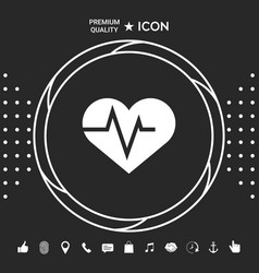 heart with ecg wave - cardiogram symbol medical vector image