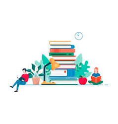 Home reading modern flat design concept studying vector