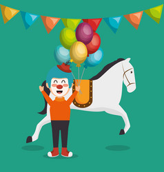 Horse and clown circus show vector