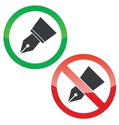 Ink pen permission signs set vector image