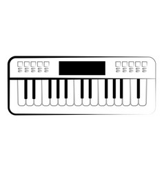 Isolated keyboard outline musical instrument vector