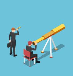 Isometric businessman use bigger telescope than vector