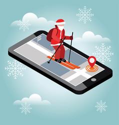 isometric santa claus skiing santa city mobile vector image