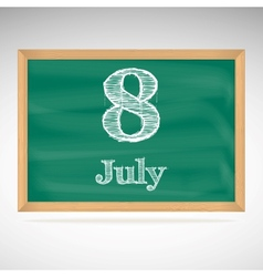 July 8 day calendar school board date vector