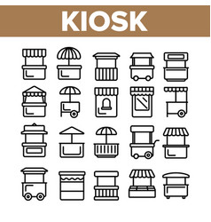kiosk market stalls types linear icons set vector image