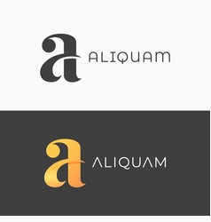 Letter a logo vintage a icon on black vector
