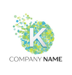 Letter k logo blue green yellow particles vector