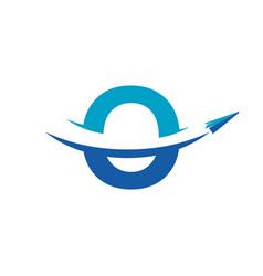 letter o paper airplane travel logo design vector image