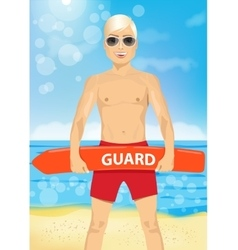 male young lifeguard holding a rescue can vector image