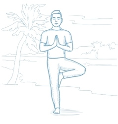 Man practicing yoga on the beach vector image