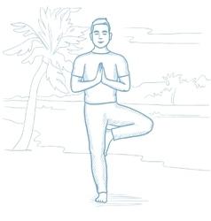 Man practicing yoga on the beach vector