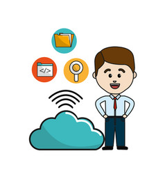 man with cloud data wifi and technology icons vector image
