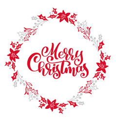 merry christmas calligraphy text in xmas vector image
