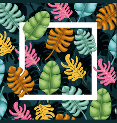natural leafs with square frame pattern background vector image
