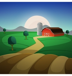 Night Farm Landscape vector