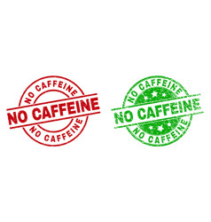 no caffeine round seals with scratched texture vector image