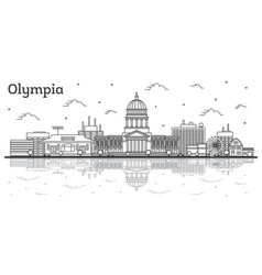 outline olympia washington city skyline with vector image