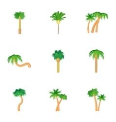 Palma icons set cartoon style vector