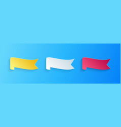 Paper cut banner ribbon icon isolated on blue vector