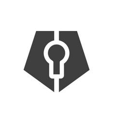 pentagonal keyhole logo icon vector image