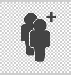 people icon with plus glyph flat vector image