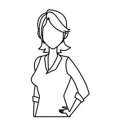 portrait woman business professional person line vector image