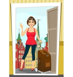 Positive woman comes back home from vacation vector
