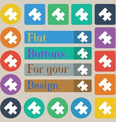 Puzzle piece icon sign Set of twenty colored flat vector