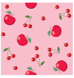 Red apples and cherries on rosy background vector