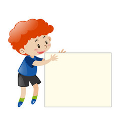 Red hair boy holding blank paper vector