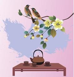 Sakura postcard advertising tea and coffee vector