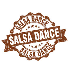 Salsa dance stamp sign seal vector