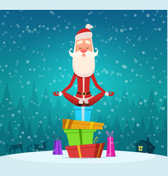 Santa relax meditation winter christmas holiday vector