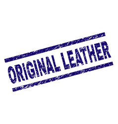 Scratched textured original leather stamp seal vector