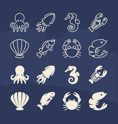 seafood linear and silhouette icons set on grunge vector image