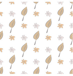 Seamless hand drawn leaves flower background vector