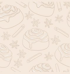 seamless pattern with cinnamon rolls and spices vector image