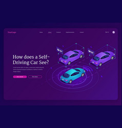 self driving car isometric landing page vehicle vector image