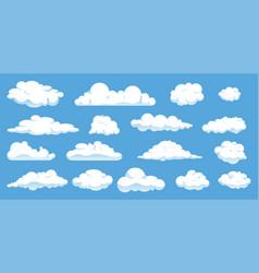 set different cartoon clouds isolated on blue vector image