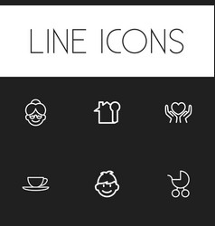 Set of 6 editable folks icons includes symbols vector