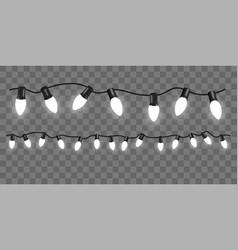 set of white garlands on transparent background vector image