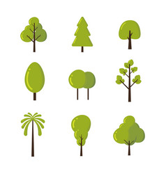 set trees icon symbol and shapes isolated vector image