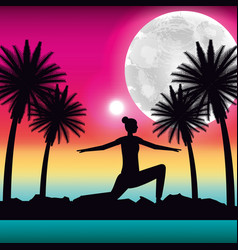 Silhouette woman making yoga in tropical panorama vector