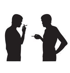 silhouettes men smoking vector image