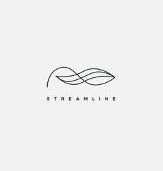 simple monogram line wave logo design template vector image